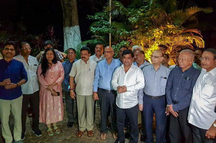 Goa Congress legislators after a meeting with Governor Mridula Sinha with a demand for dismissal of the Manohar Parrikar-led government and allowing the opposition party to stake a claim for forming an alternate government, in Panaji. (PTI Photo)