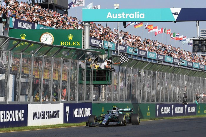 Mercedes driver Valtteri Bottas crosses the finish line to win the Australian Grand Prix on Sunday. Picture credit: AFP