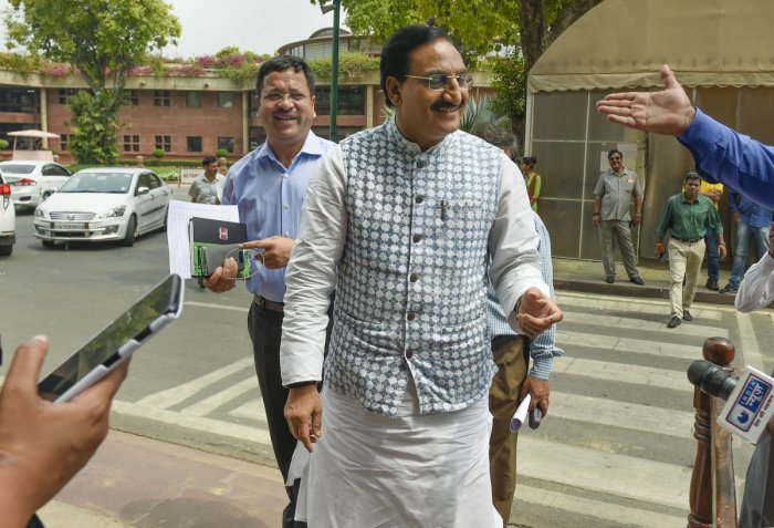 Union Minister for Human Resource Development Ramesh Pokhriyal 'Nishank' during the Budget Session at Parliament House last month (PTI File Photo)