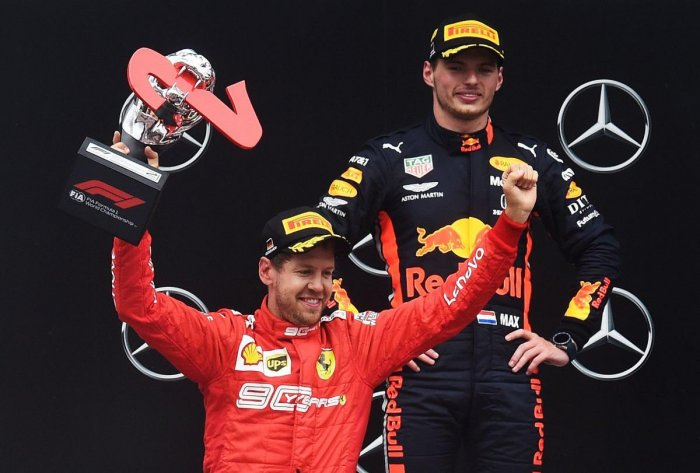 Max Verstappen celebrates on the podium after the German Formula One Grand Prix at the Hockenheim racing circuit. (AFP Photo)