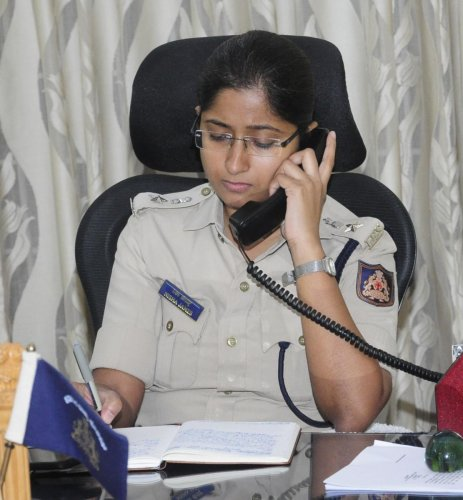 Udupi Superintendent of Police Nisha James replies to a query during the weekly phone-in programme in Udupi on Friday.