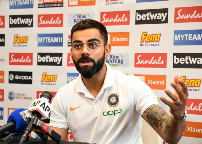 India Captain Virat Kohli gives a press conference one day ahead of the 1st T20i Cricket match between West Indies and India at Central Broward Regional Park Stadium in Fort Lauderdale, Florida. (AFP Photo)