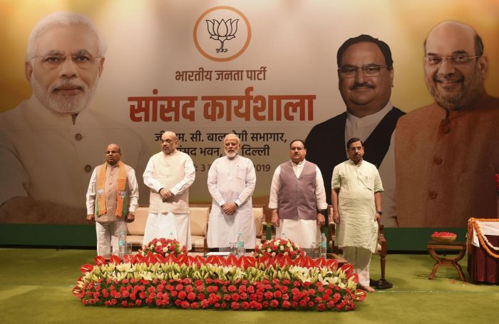 Prime Minister Narendra Modi, Home Minister Amit Shah, BJP Working President JP Nadda, Parliamentary Affairs Minister Pralhad Joshi and Union Minister for Social Justice and Empowerment Thawar Chand Gehlot during the two-day training programme called 'Abh