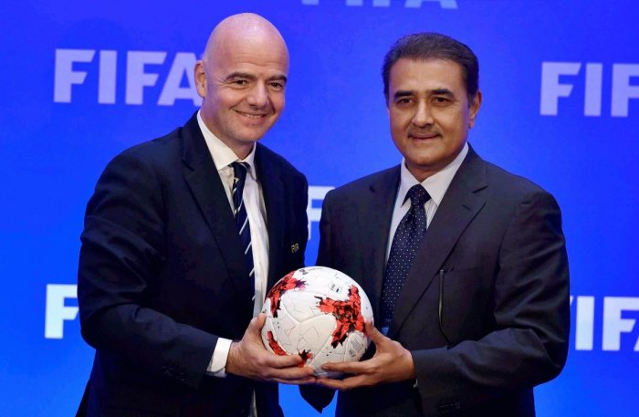 AIFF president Praful Patel (right) ruled out the possibility of a unified league featuring I-League and Indian Super League clubs this season.