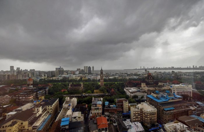 A top view of South Mumbai as monsoon clouds hover over the city. (PTI Photo)