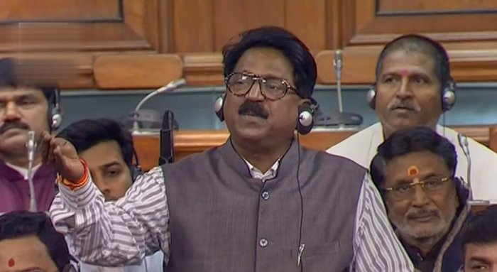 Shiv Sena members Arvind Ganpat Sawant during the discussion on issues relating to Rafale deal, in the Lok Sabha in New Delhi. PTI