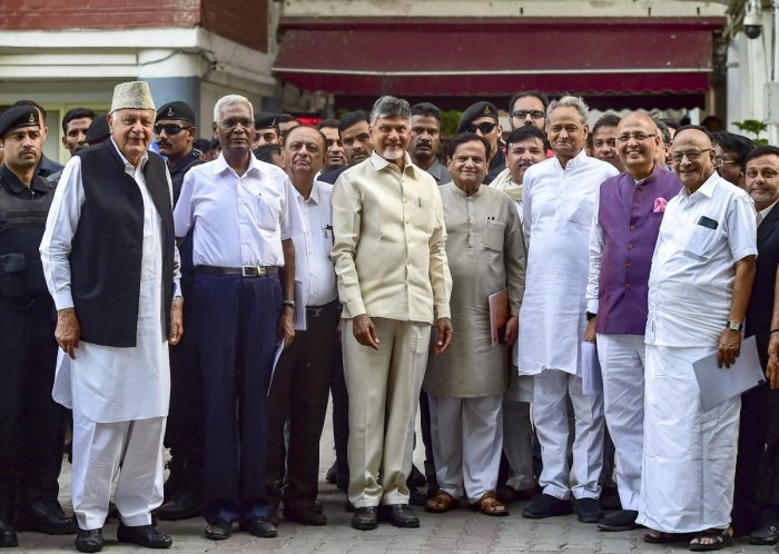 Opposition leaders Abhishek Manu Singhvi, N Chandrababu Naidu, Farooq Abdullah, Sanjay Singh and others after a meeting with the Chief Election Commissioner (CEC), at Nirvachan Bhawan in New Delhi on May 7, 2019. (PTI Photo)