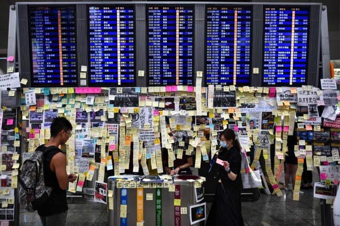 At least 105 flights were listed as cancelled on the airport's departure page on Monday morning. (AFP File Photo)