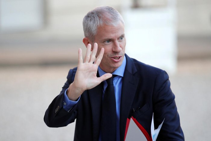 Culture Minister Franck Riester made his plea to stick to French in a Twitter post published late on Sunday and marking the 25th anniversary of a law governing the use of French on television and radio. (Reuters File Photo)