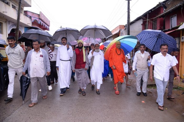 Priests from various disciplines take out a rally in Madikeri on Monday as a part of 'Matte Kalyana' programme.