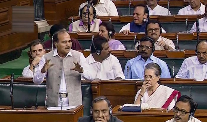 Congress MP Adhir Ranjan Chowdhury speaks in the Lok Sabha during the ongoing Budget Session of Parliament, in New Delhi, Tuesday, Aug 6, 2019. LSTV/PTI