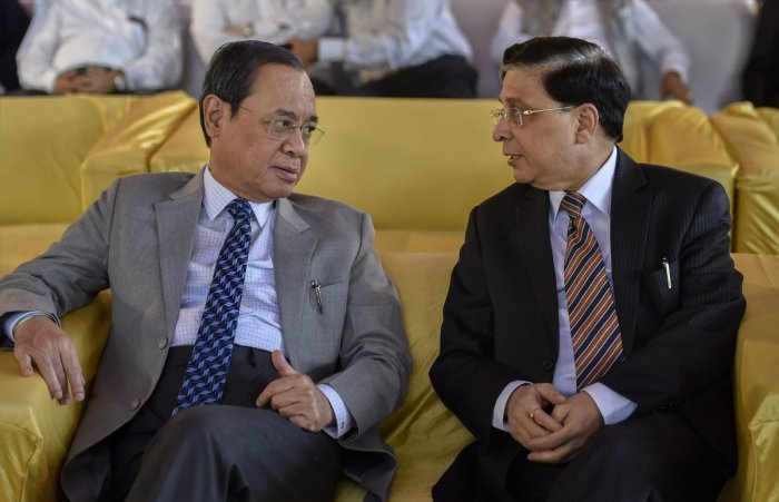 Chief Justice of India Justice Dipak Misra (right) and his successor Justice Ranjan Gogoi. PTI file photo