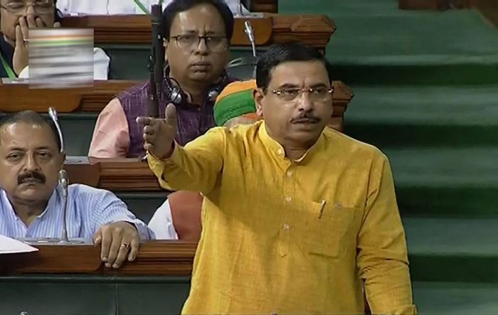 Minister of Parliamentary Affairs Pralhad Joshi speaks in the Lok Sabha during the Budget Session of Parliament, in New Delhi. (PTI Photo)