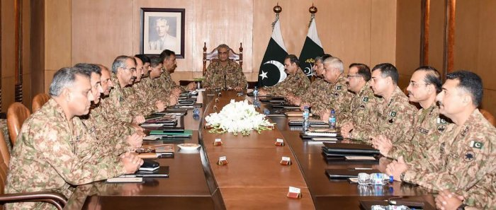 """Pakistan Army firmly stands by the Kashmiris in their just struggle to the very end,"" said General Qamar Javed Bajwa after meeting with top commanders in Rawalpindi. (AFP)"