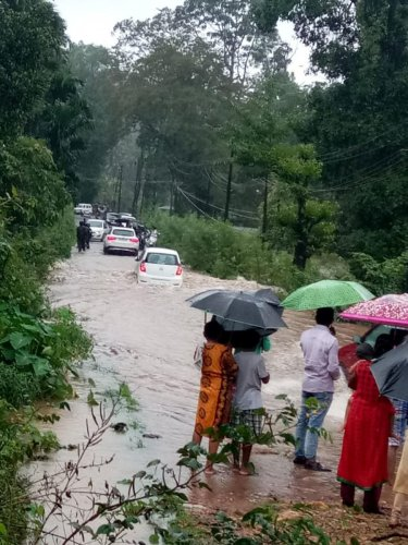The national highway between Udupi and Theerthahalli was flooded near Hebri, Udupi district.