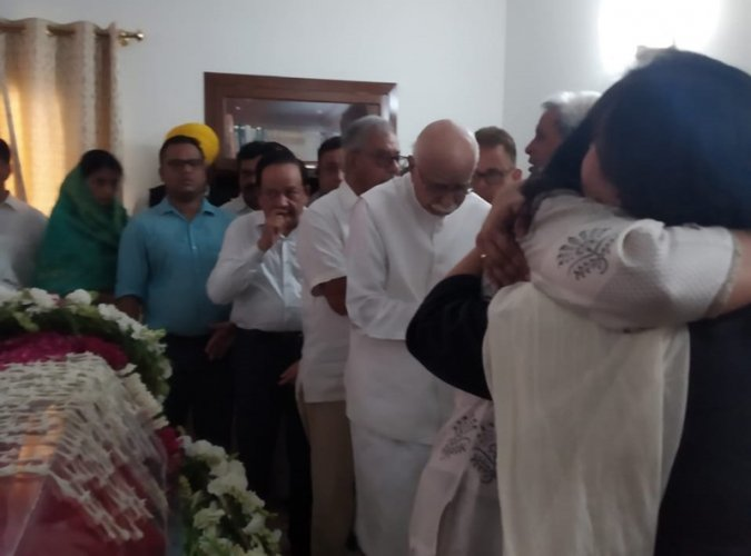 """Paying rich tributes to Sushma Swaraj, BJP veteran L K Advani on Wednesday described her as one of his closest colleagues who rose to become one of the BJP'smost popular and prominent faces and """"a role model for women leaders"""". (Image: ANI/Twitter)"""