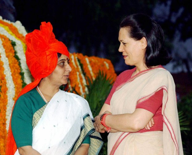 Senior Congress leader Sonia Gandhi on Wednesday recalled veteran BJP leader Sushma Swaraj's oratorical skills and the warm relationship she enjoyed with here despite being on the opposite sides of the political spectrum. PTI file photo