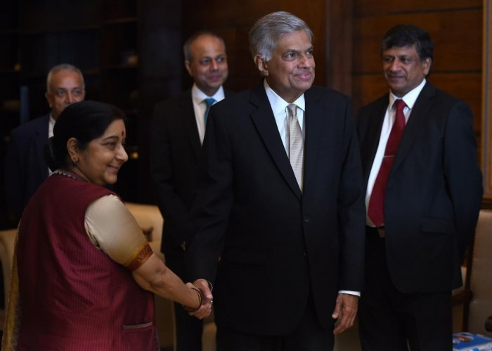 Wickremesinghe said that Swaraj's focus on the bilateral relationship while keeping an interest on achieving regional policy objectives made a lasting impression among the Lankan public. (AFP PHOTO)