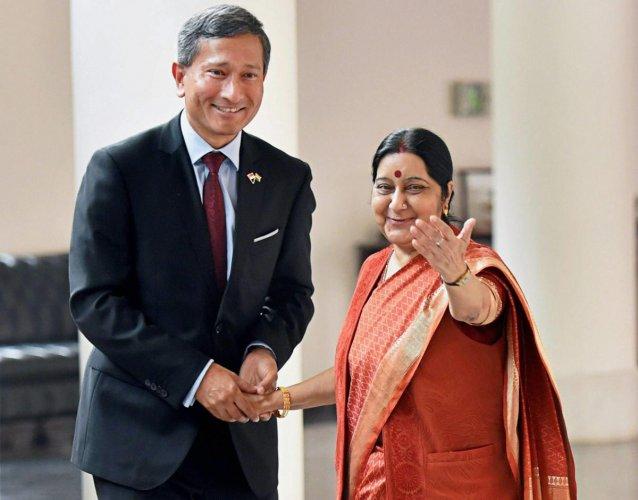 Sushma Swaraj and Vivian Balakrishnan. (PTI File Photo)