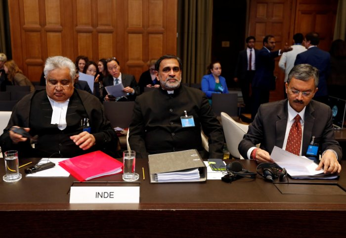 (L-R) Indian Lawyer Harish Salve, Dr. V. D. Sharma and Deepak Mittal, Joint Secretaries, Indian Ministry of External Affairs are seen at the International Court of Justice during the final hearing of the Kulbhushan Jadhav case in The Hague, the Netherlands, February 18, 2019. (File Photo: Reuters)