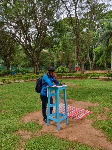 Cubbon Park visitors dial up ProjectOnHerOwn numbers to listen to the stories of women.