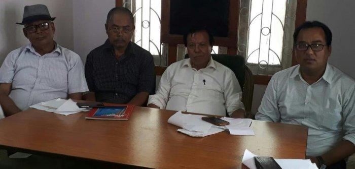 Leaders of Bharatiya Gorkha Parishad in a meeting in Siliguri, North Bengal.  on Tuesday. DH photo