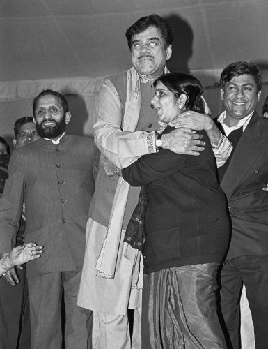 Shatrugan Sinha and Sushma Swaraj. (File Photo)