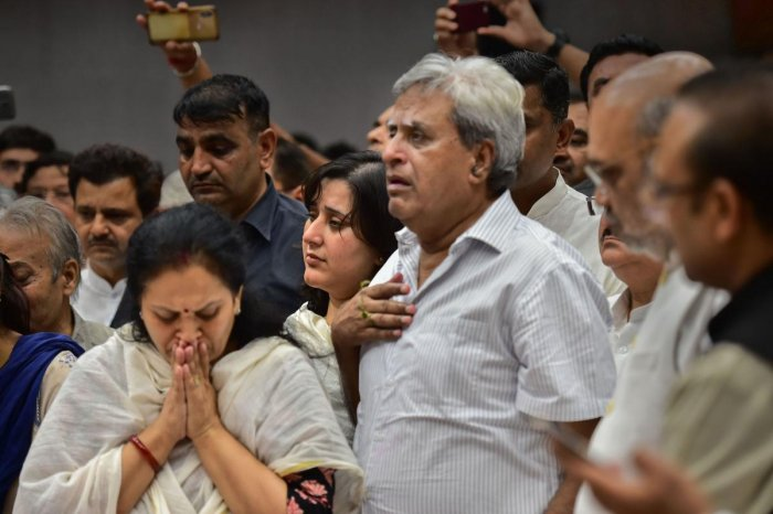 The mortal remains of former external affairs minister Sushma Swaraj were consigned to flames on Wednesday at the Lodhi Road crematorium here. (PTI Photo)