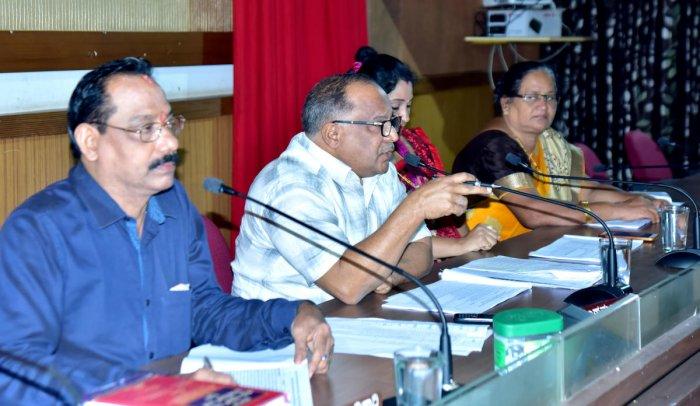 Mangaluru Taluk Panchayat President Muhammed Monu chairs the general meeting of the Panchayat at Nethravathi Auditorium of Zilla Panchayat in Mangaluru on Wednesday.