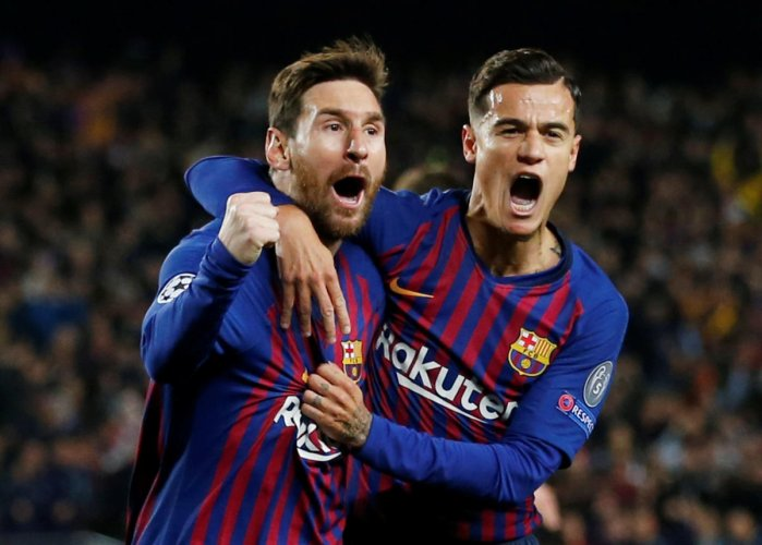 Philippe Coutinho with Lionel Messi. (Reuters File Photo)