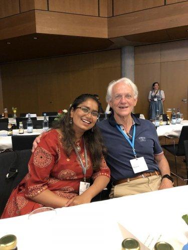 Rijutha Jaganathan with Gerard Mourou, 2018 Nobel laureate