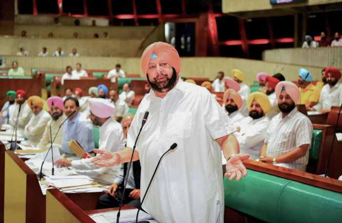 Punjab Chief Minister Capt Amarinder Singh speaks during Vidhan Sabha session, in Chandigarh. (PTI Photo)