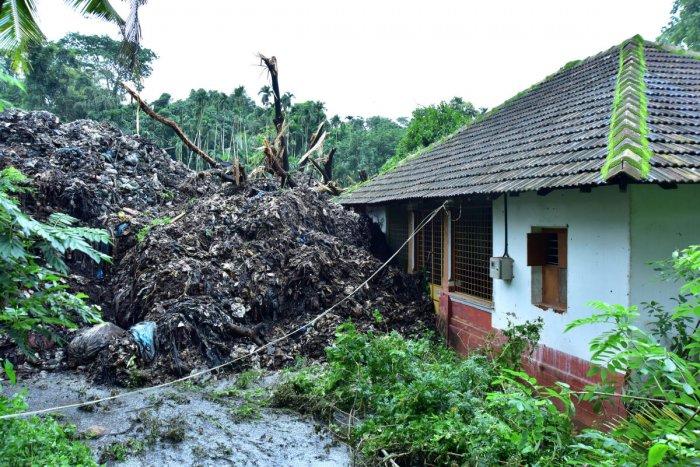 Heaps of garbage slid near a house in Pacchanady near Mangaluru.