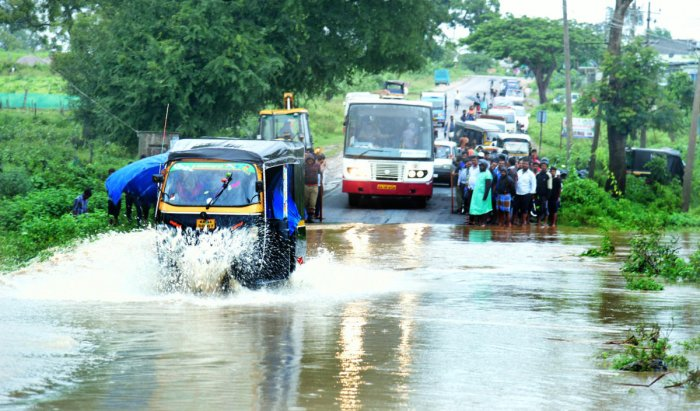Roads in HD Kote are flooded