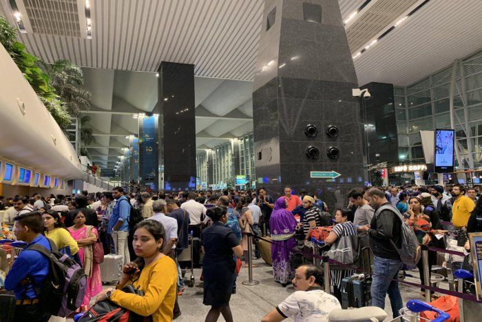 The limited space of Terminal 1 was packed with waiting passengers.