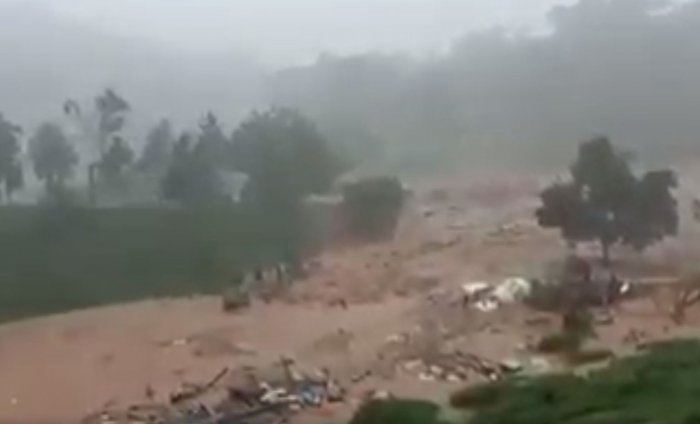 A screengrab from an SOS video, shows the intensity of the landslide at Puthumala near Meenanagadi in Wayanad district. About 70 houses, a church, a temple and some shops were damaged.