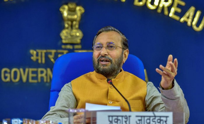 Union Minister of Information and Broadcasting Prakash Javadekar during a cabinet briefing, in New Delhi. (PTI Photo)