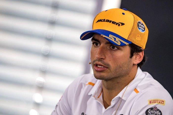 McLaren's Spanish driver Carlos Sainz Jr addresses the drivers' press conference ahead of the German Formula One Grand Prix. (AFP Photo)