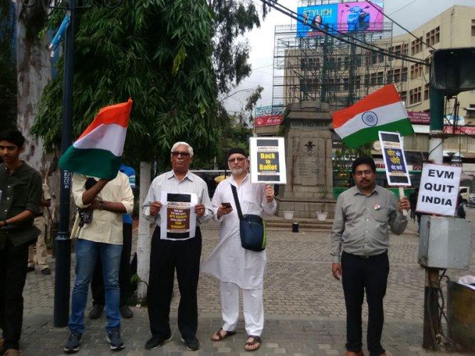 A gathering of activists on Brigade Road. Credit: DH Photo/Aishwaryaa R