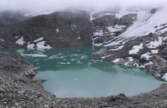 The Kajin Sara lake in Manang district was discovered about a few months ago by a team of mountaineers, the Himalayan Times reported. It is located at Singarkharka area of Chame rural municipality. (Image: Facebook)
