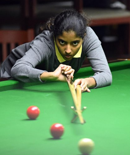 Fresh from her Senior National snooker title, Varshaa Sanjeev has decided to take a break from her studies to focus on the game. DH Photo/ Srikanta Sharma R