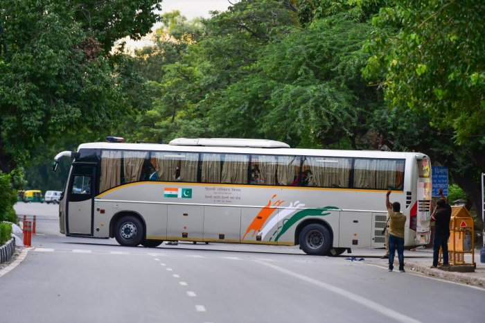 The Delhi-Lahore bus, also known as Sada-e-Sarhad, leaves for Lahore from Ambedkar terminal in New Delhi. (PTI Photo)