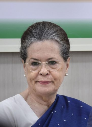 Senior Congress leader Sonia Gandhi during Congress Working Committee (CWC) meeting, at AICC HQ in New Delhi on Saturday. PTI photo