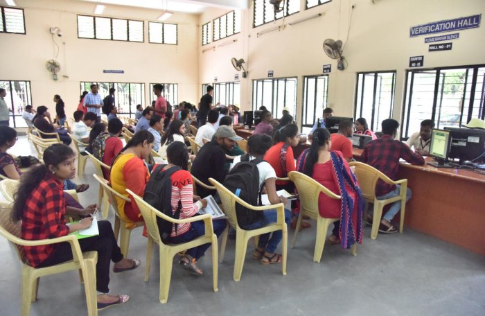 Students at a CET cell in Bengaluru. DH file photo