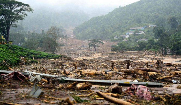 A damaged area is pictured following a landslide in Meppadi, Wayanad district, in the Indian state of Kerala on August 9, 2019. (Photo by STR / AFP)