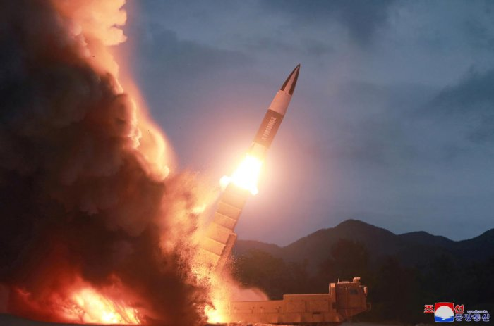 North Korea test fires a new weapon, in this undated photo released on August 11, 2019 by North Korea's Korean Central News Agency (KCNA).
