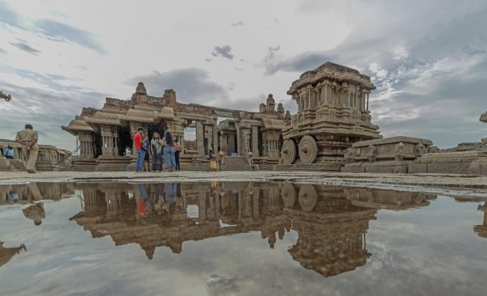 While the heavy discharge from the Tungabhadra dam inundated Hampi, the erstwhile capital of medieval empire Vijayanagar, the swollen Malaprabha marooned the Chalukyan monuments in Pattadakal.