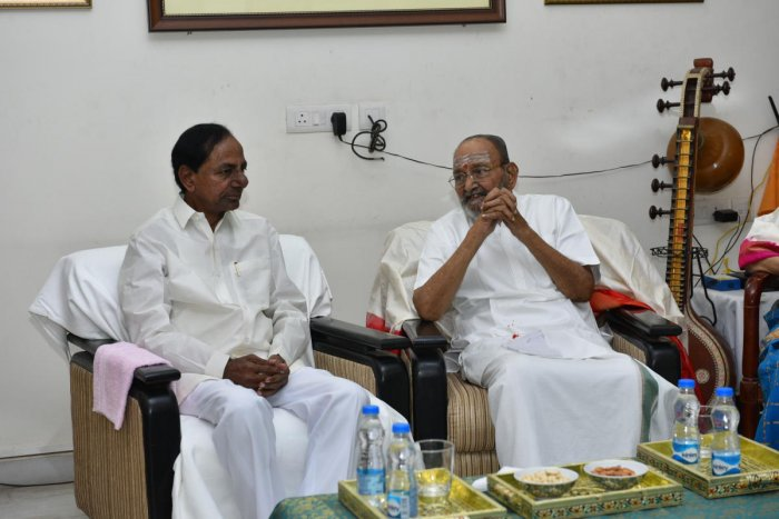 "The Chief Minister told Viswanath that he saw ""Sankarabharanam"" movie directed by the latter for more than 25 times. (DH photo)"