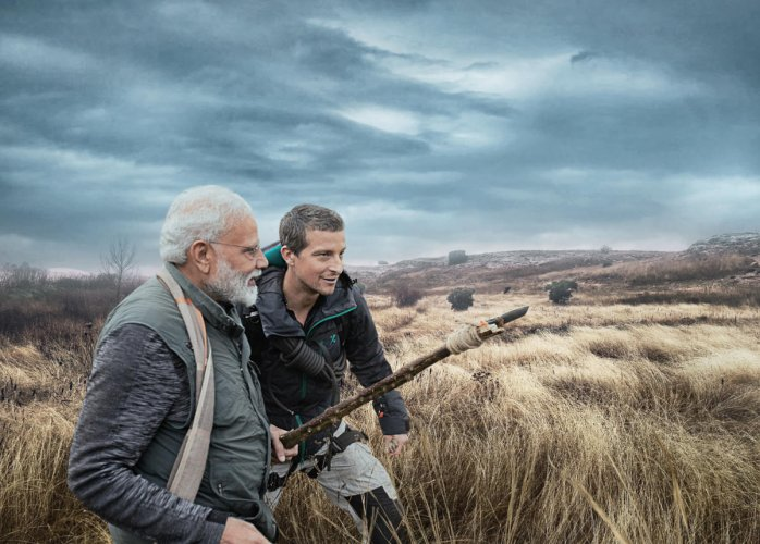 "Prime Minister Narendra Modi with world-renowned survivalist and adventurer Bear Grylls in the upcoming Discovery Channel special episode ""Man Vs Wild"" set for screening on August 12."