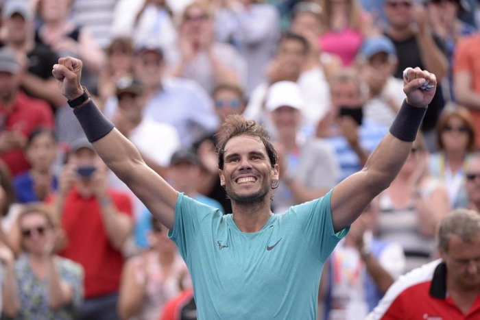 Montreal: Spain's Rafael Nadal celebrates his win over Russia's Daniil Medvedev in the final of the Rogers Cup tennis tournament in Montreal, Sunday, Aug. 11, 2019. Photo AP/PTI
